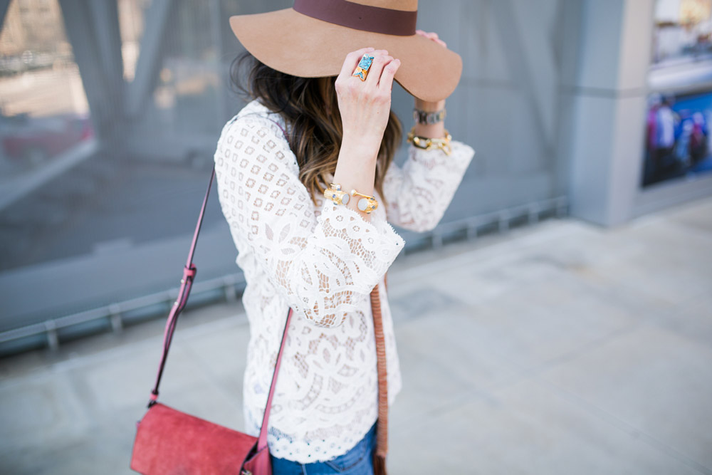 chic at every age, style at any age, how to wear a lace top, wishing well acacia ring, julie vos bangles, brixton hat, skinny scarf, chloe faye bag