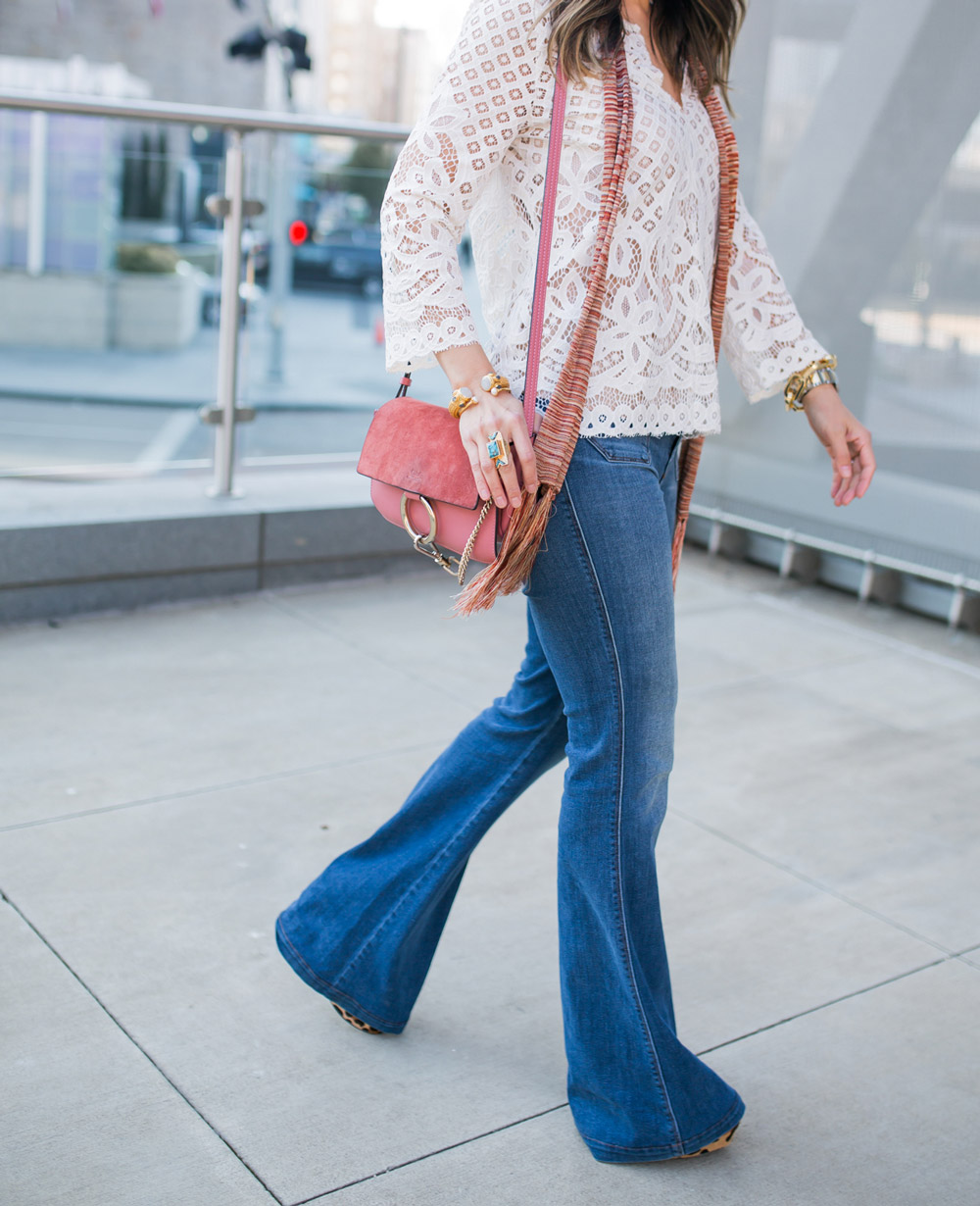 chic at every age, style at any age, how to wear a lace top, flare jeans, brixton hat, skinny scarf, chloe faye bag