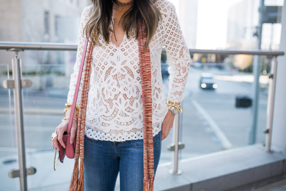 chic at every age, style at any age, how to wear a lace top, skinny scarf, chloe faye bag
