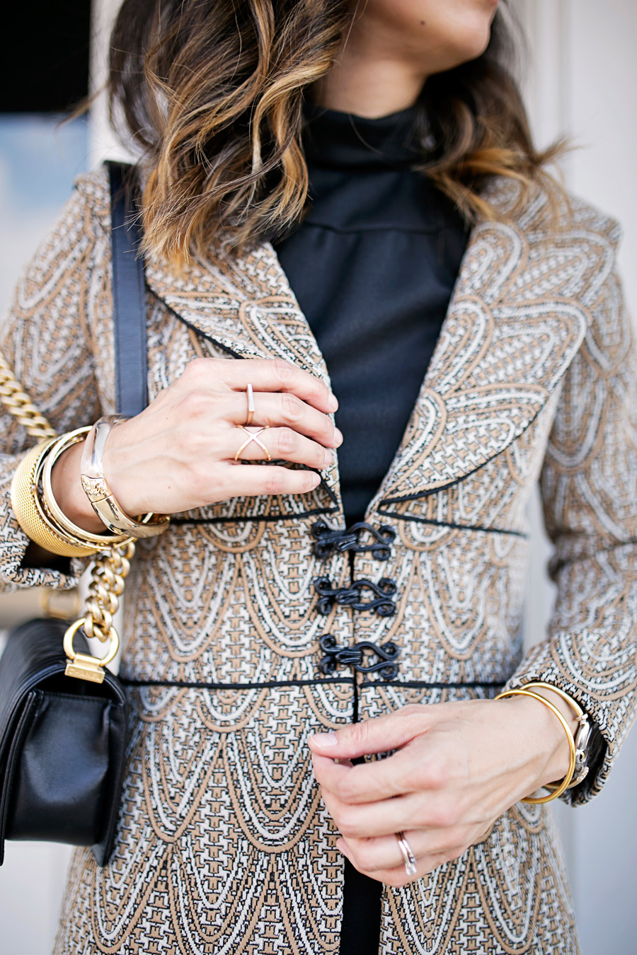vintage brocade jacket, lbd, chanel boy bag ghw, louboutin simple pump, barse jewelry rings