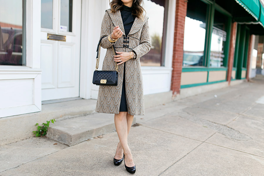 vintage brocade jacket, lbd, chanel boy bag ghw, louboutin simple pump