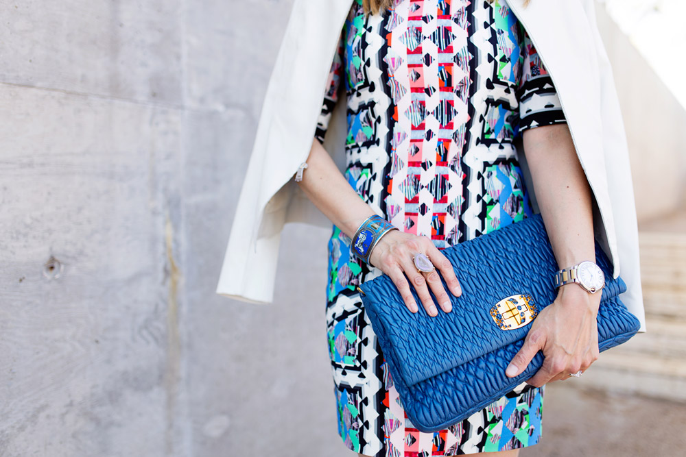 peter pilotti rg dress, blue miu miu clutch, pink fuschia pumps, white leather jacket, how to wear a print dress in spring, hermes bangle, kelly wearstler tamarindo ring