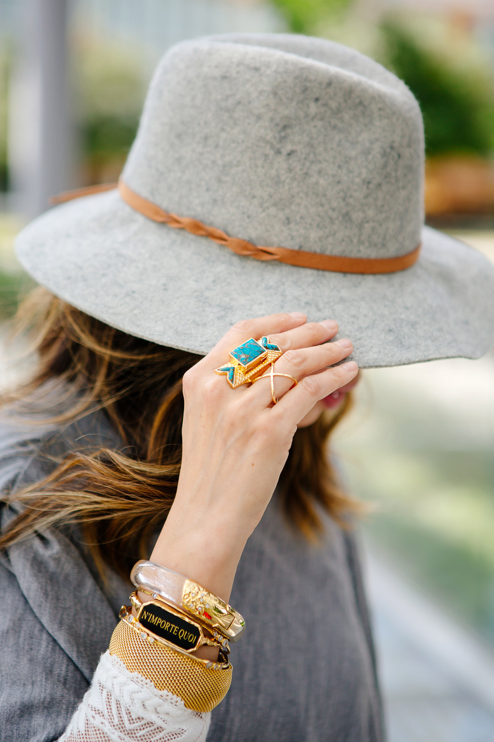Wishing Well Intention Acacia Ring, target grey wool hat, barse crossover ring, alexis bittar lucite & n'importe quoi bracelet, vintage bracelet