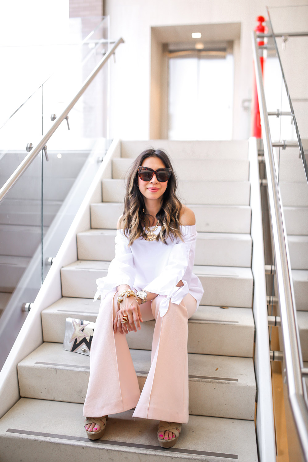 how to wear an off the shoulder top with wide leg pants