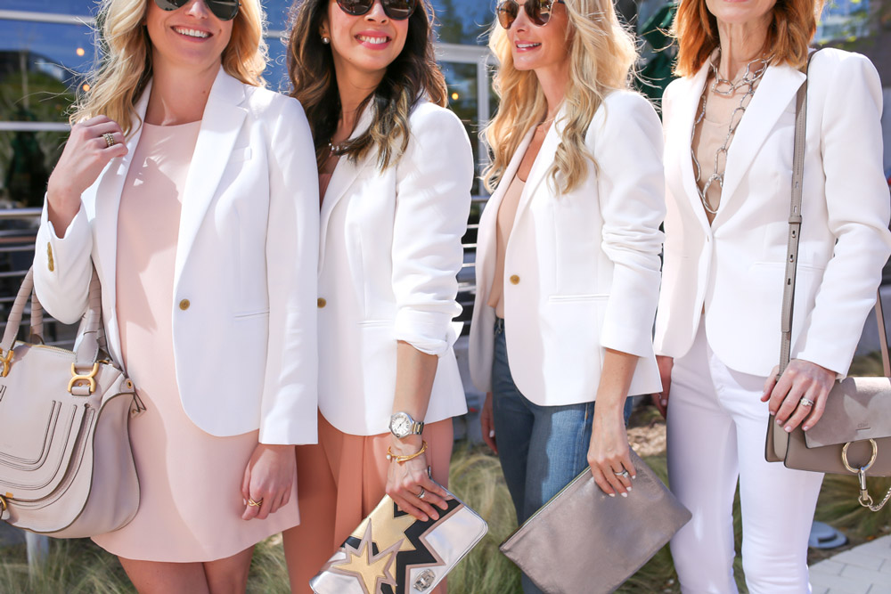 style at any age, jcrew white blazer, one blazer four ways, chloe faye marcie, miu miu star clutch, claire v clutch