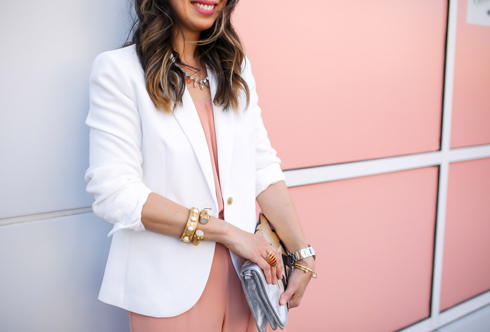 jcrew white blazer, pink jumsuit, miu miu star clutch, julie vos siena bangle baroque cuff, style at any age