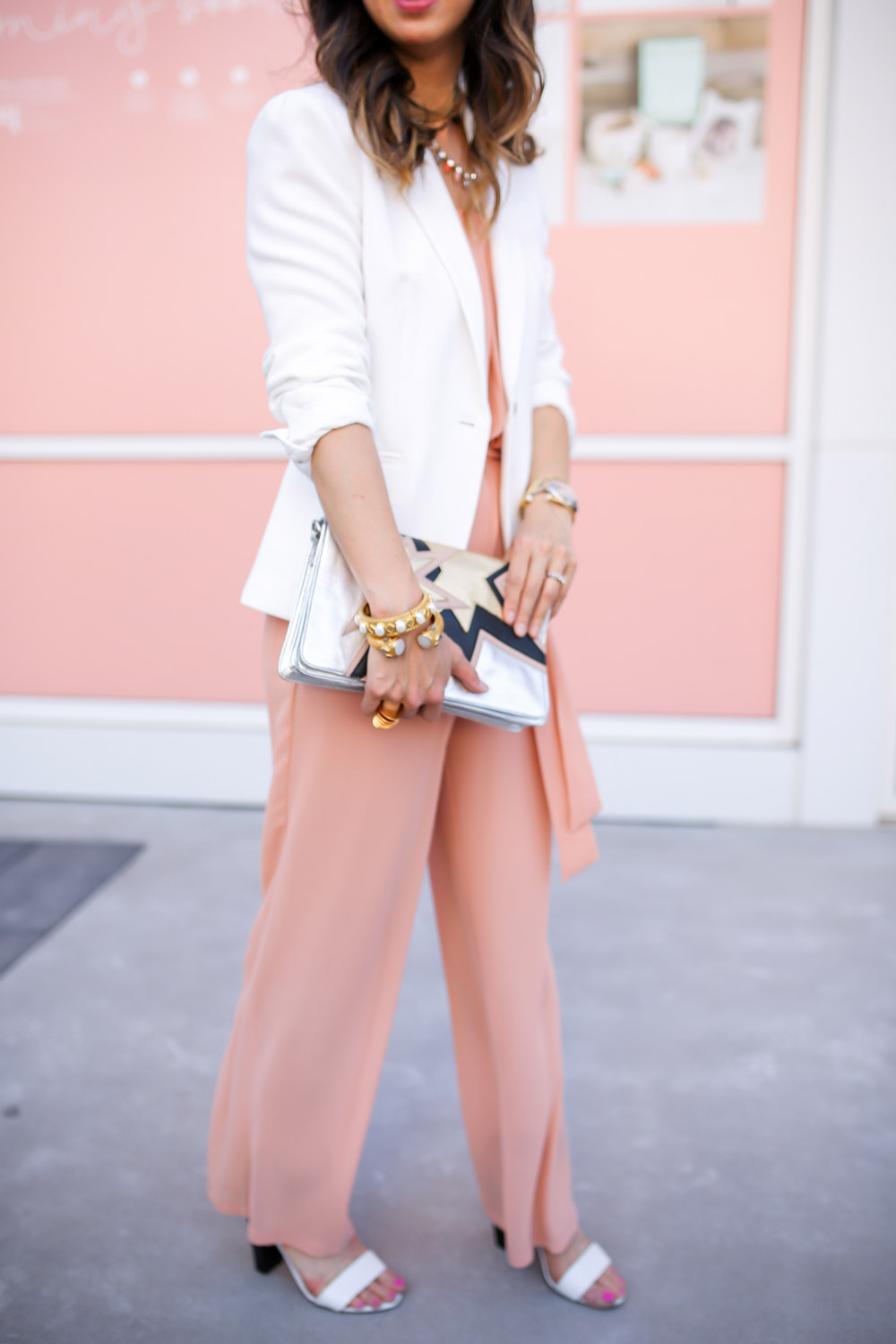 jcrew white blazer, pink jumsuit, miu miu star clutch, style at any age