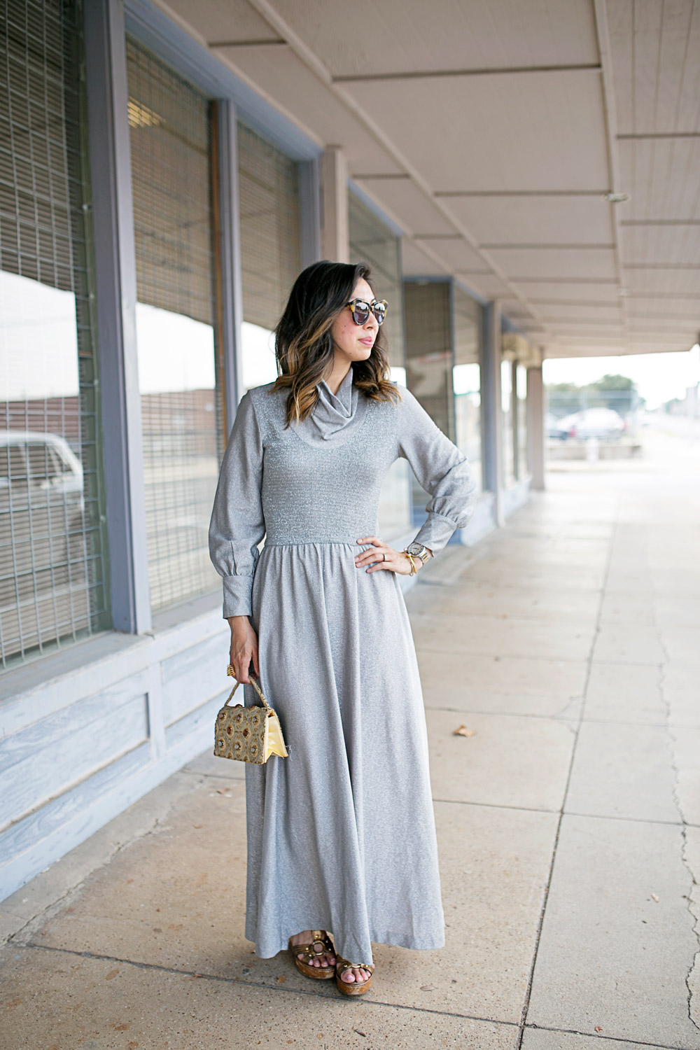 vintage silver cowl neck maxi dress