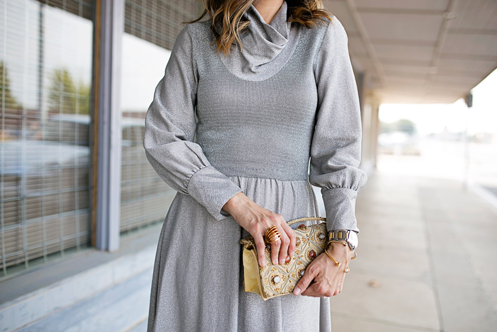 vintage silver cowl neck maxi dress, embellished clutch