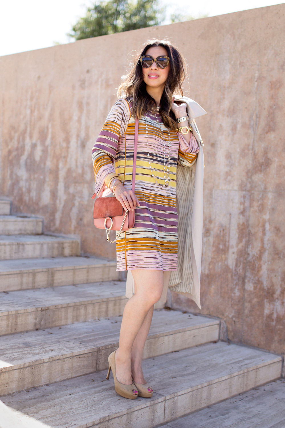 missoni dress, chloe faye rose pink, ysl peeptoe tribute pump, chanel pearl necklace