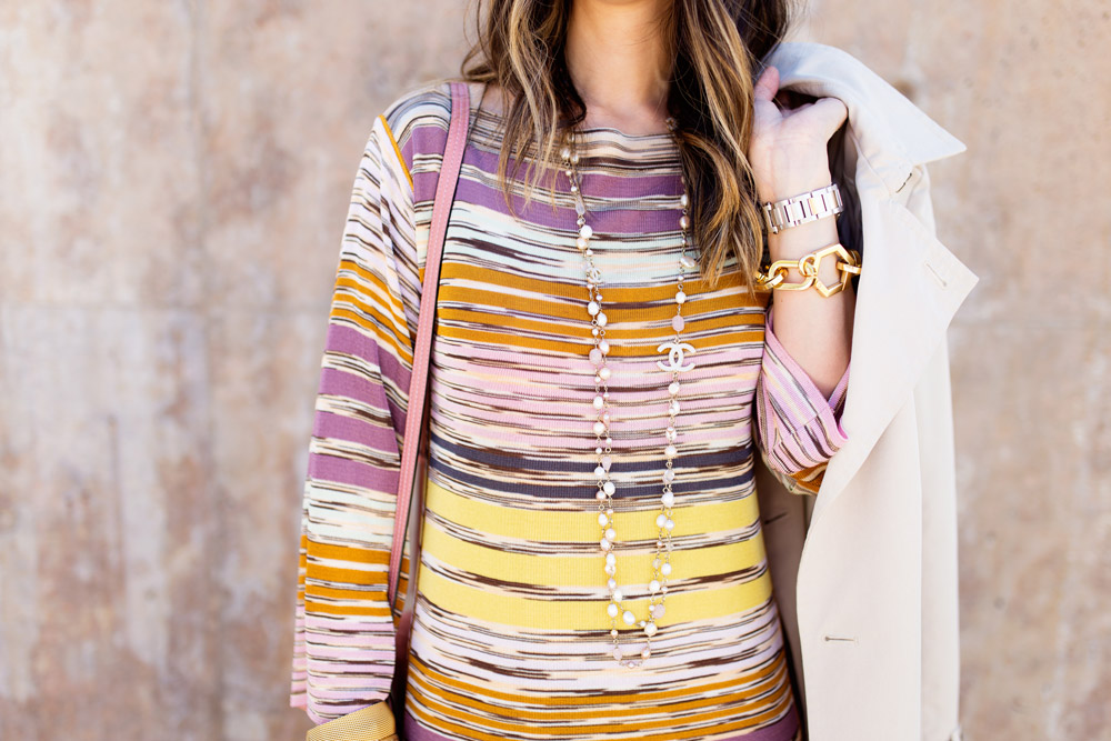 missoni dress, chloe faye rose pink, chanel pearl necklace