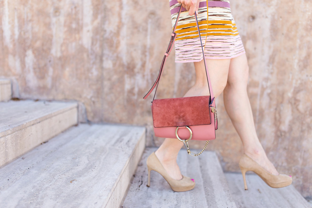 missoni dress, chloe faye rose pink, ysl peeptoe tribute pump