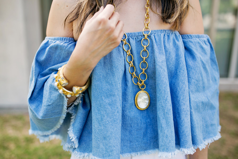 off the shoulder denim top, alice and olivia wide leg pants, julie vos mother of pearl pendant, baroque cuff, siena bangle, how to wear a crop top in your 30s