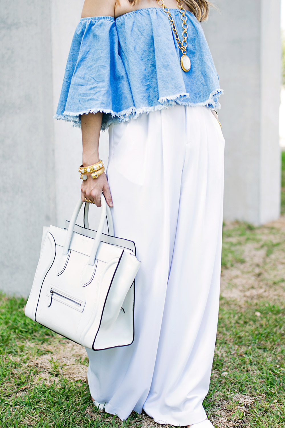 off the shoulder denim top, alice and olivia wide leg pants, celine luggage tote, julie vos mother of pearl pendant, baroque cuff, siena bangle, how to wear a crop top in your 30s