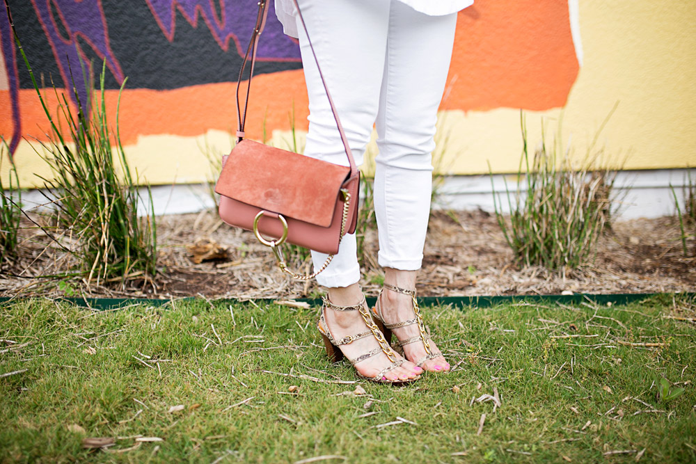 rose pink chloe faye, coach python sandals