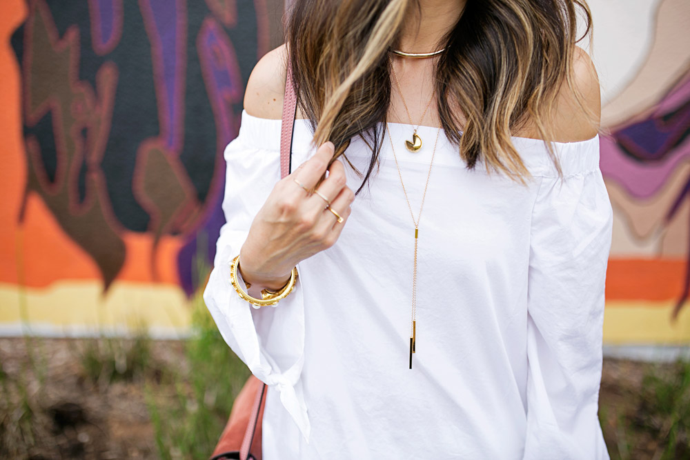 white off the shoulder top, rose pink chloe faye bag, alexis bittar thin collar necklace, fortune and frame fortune cookie necklace, gorjana mave lariat necklace