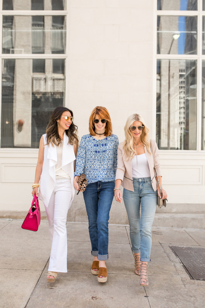 #FitToBe, NYDJ, Chic at Every Age mom version, all white outfit, flare jeans