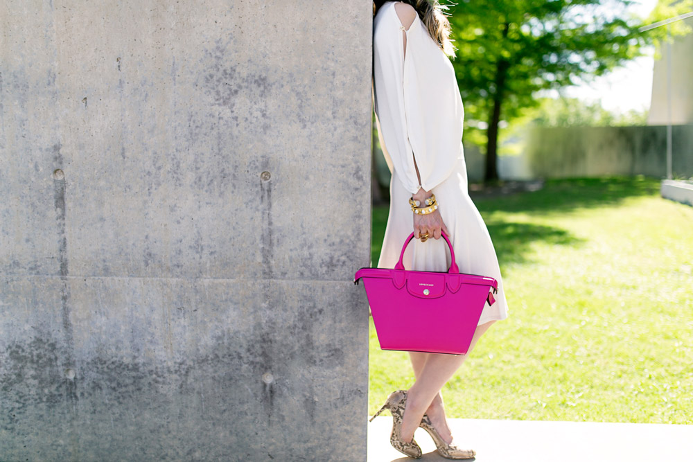 Longchamp Le Pliage Heritage cyclamen pink, modern museum of fort worth