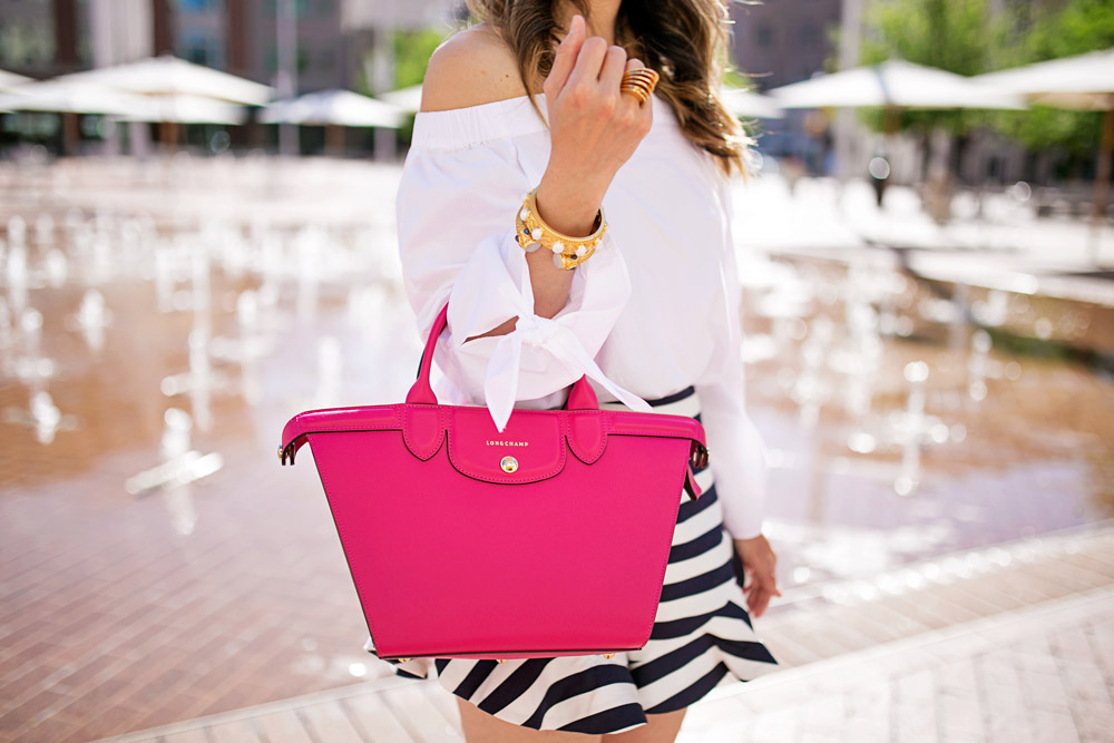 #LongchampSecretCity, SundanceSquare, free people off the shoulder top, cameo ruffle striped shorts, longchamp le pliage heritage cyclamen, julie vos siena pearl bangle, baroque cuff, vita fede futuro ring