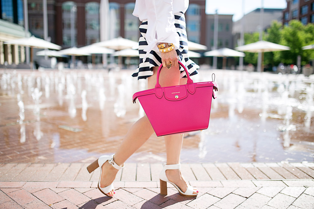 #LongchampSecretCity, SundanceSquare, free people off the shoulder top, cameo ruffle striped shorts, longchamp le pliage heritage cyclamen, prada white sandals