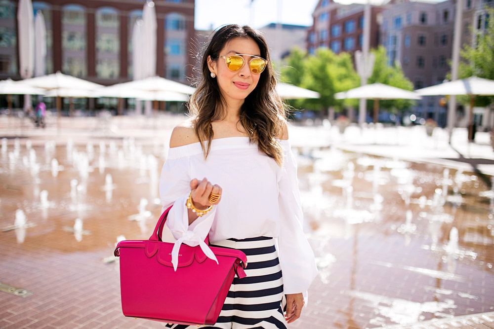 #LongchampSecretCity, SundanceSquare, free people off the shoulder top, cameo ruffle striped shorts, longchamp le pliage heritage cyclamen, westward leaning flower 8