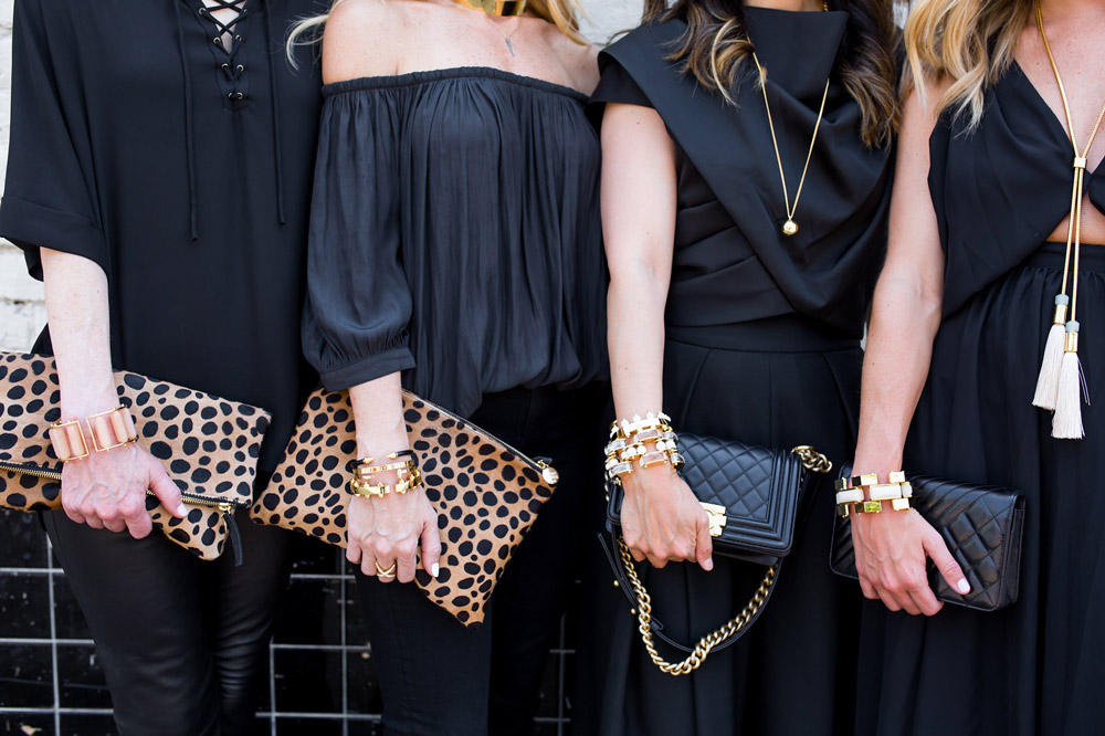 all black with gold accessories, lele sadoughi jewelry