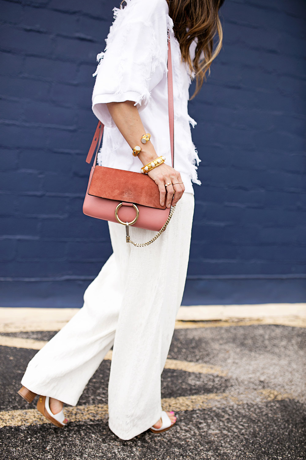 rose pink chloe faye bag, all white outfit