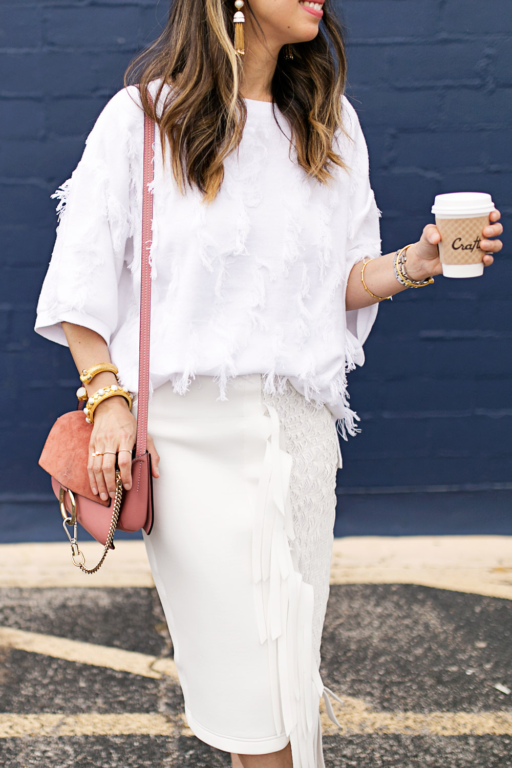 fringe sweater and skirt, rose pink chloe faye bag