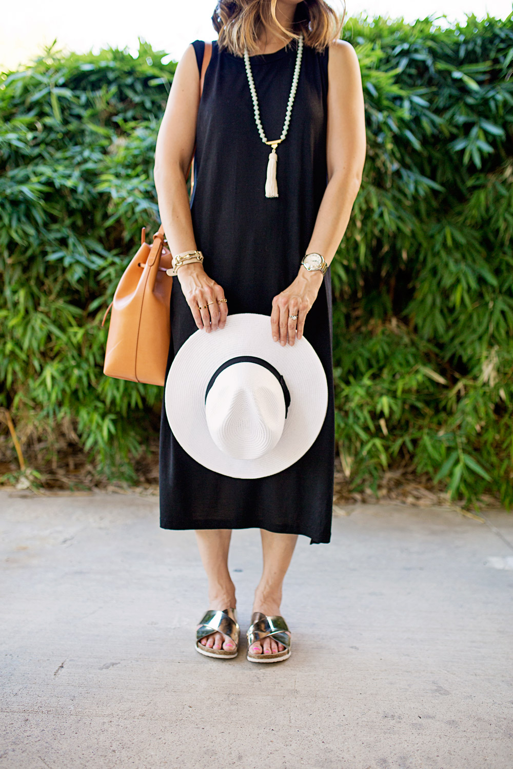 black muscle midi dress vacation ready