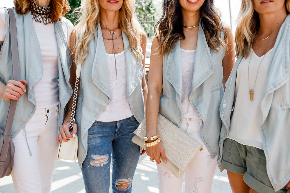 denim vest with white tank, four ways