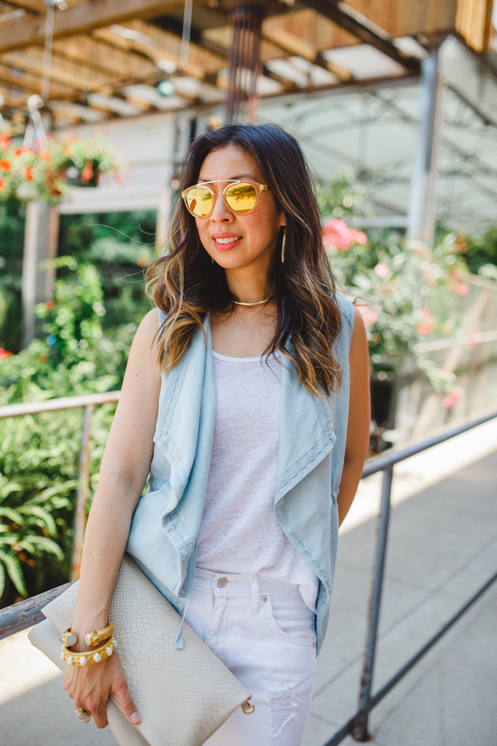 westward leaning flower sunglasses, chambray vest