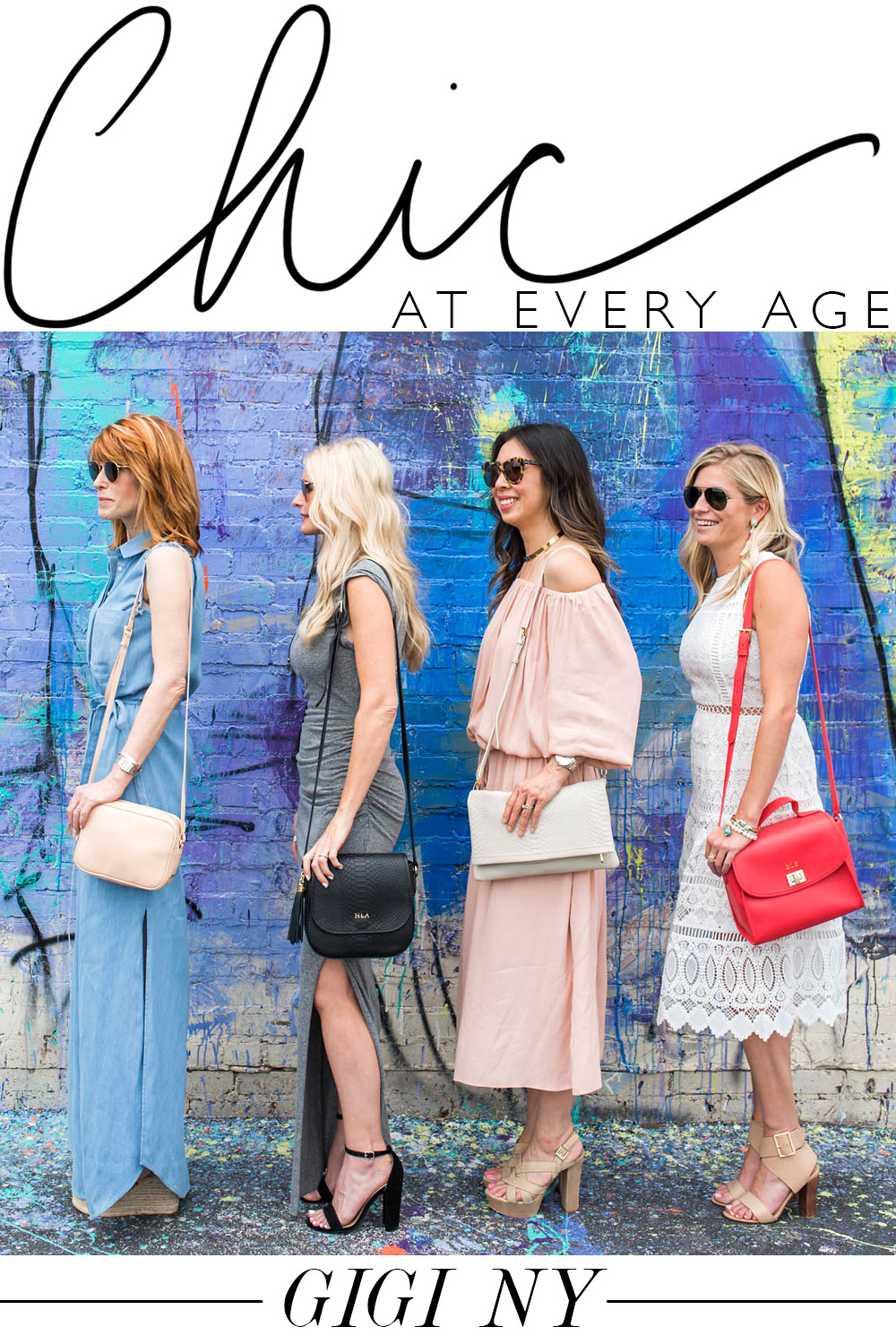 chic at every age, four bloggers wearing gigi ny crossbody bags