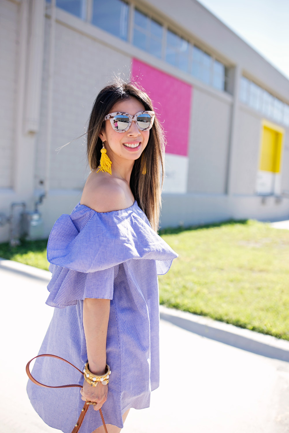 quay marble cat eye sunglasses, yellow tassel earrings