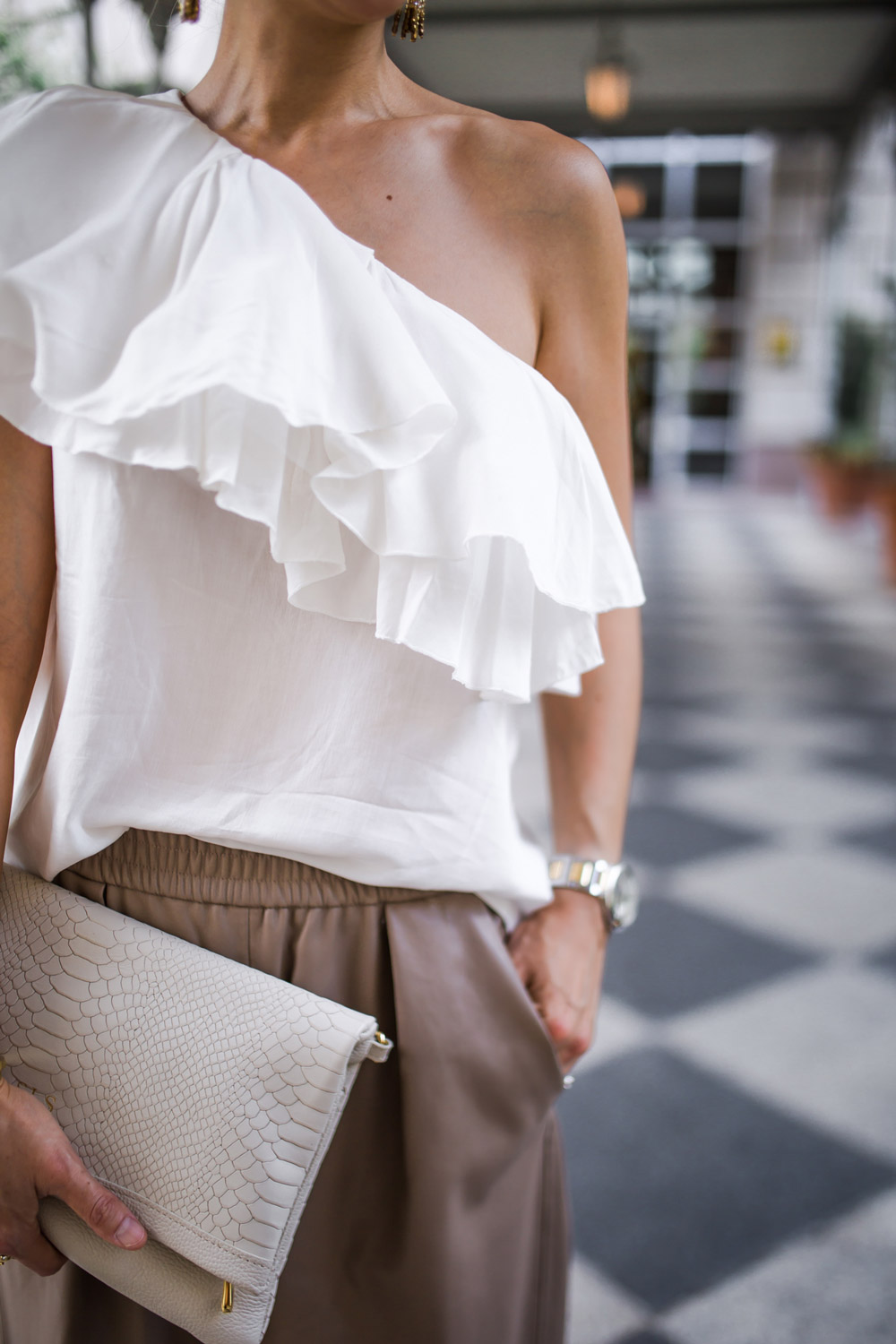 one shoulder flounce top, leather culottes