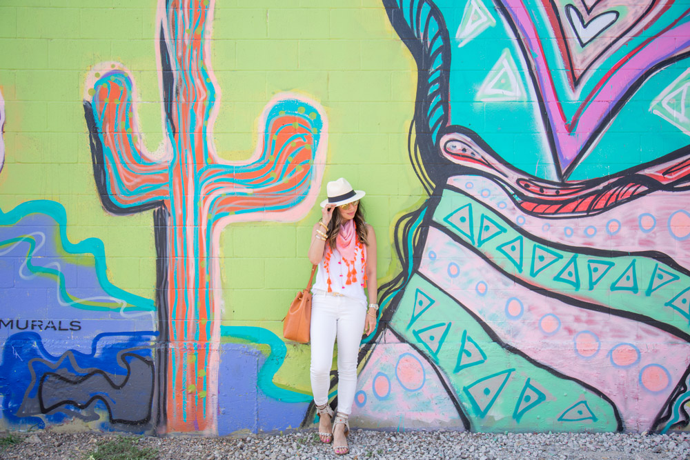 white denim outfit ideas, panama hat and bright scarf