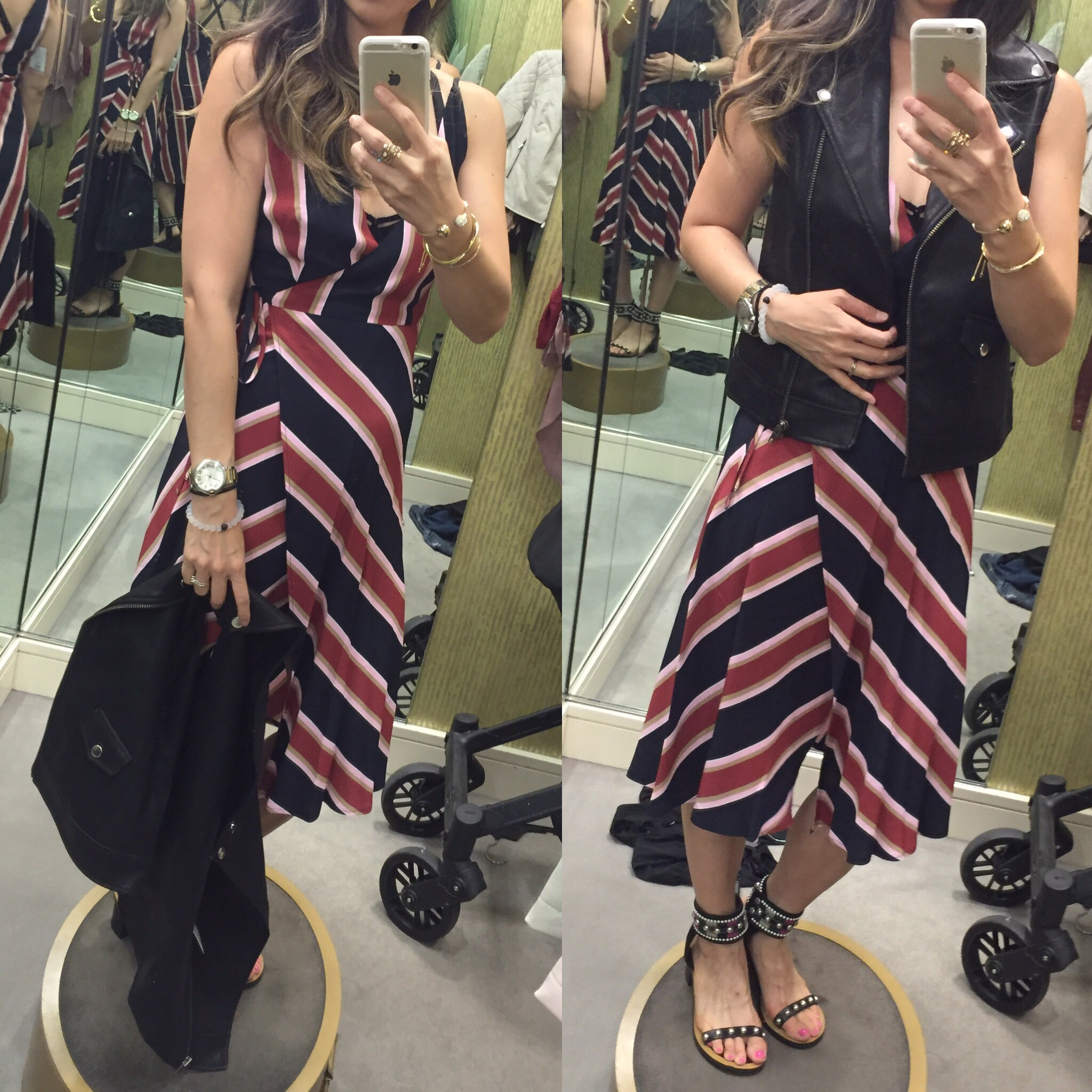 dressing room outfits nordstrom anniversary sale picks, striped wrap dress