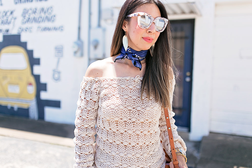 crochet off the shoulder top, how to wear a neck scarf, quay marble sunglasses