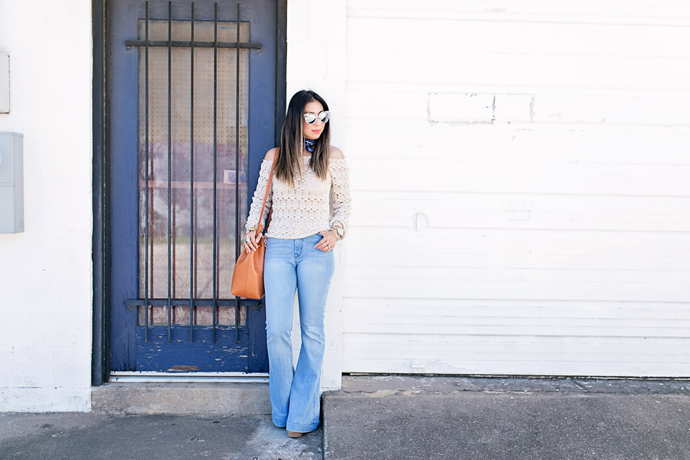 off the shoulder top, flare leg jeans