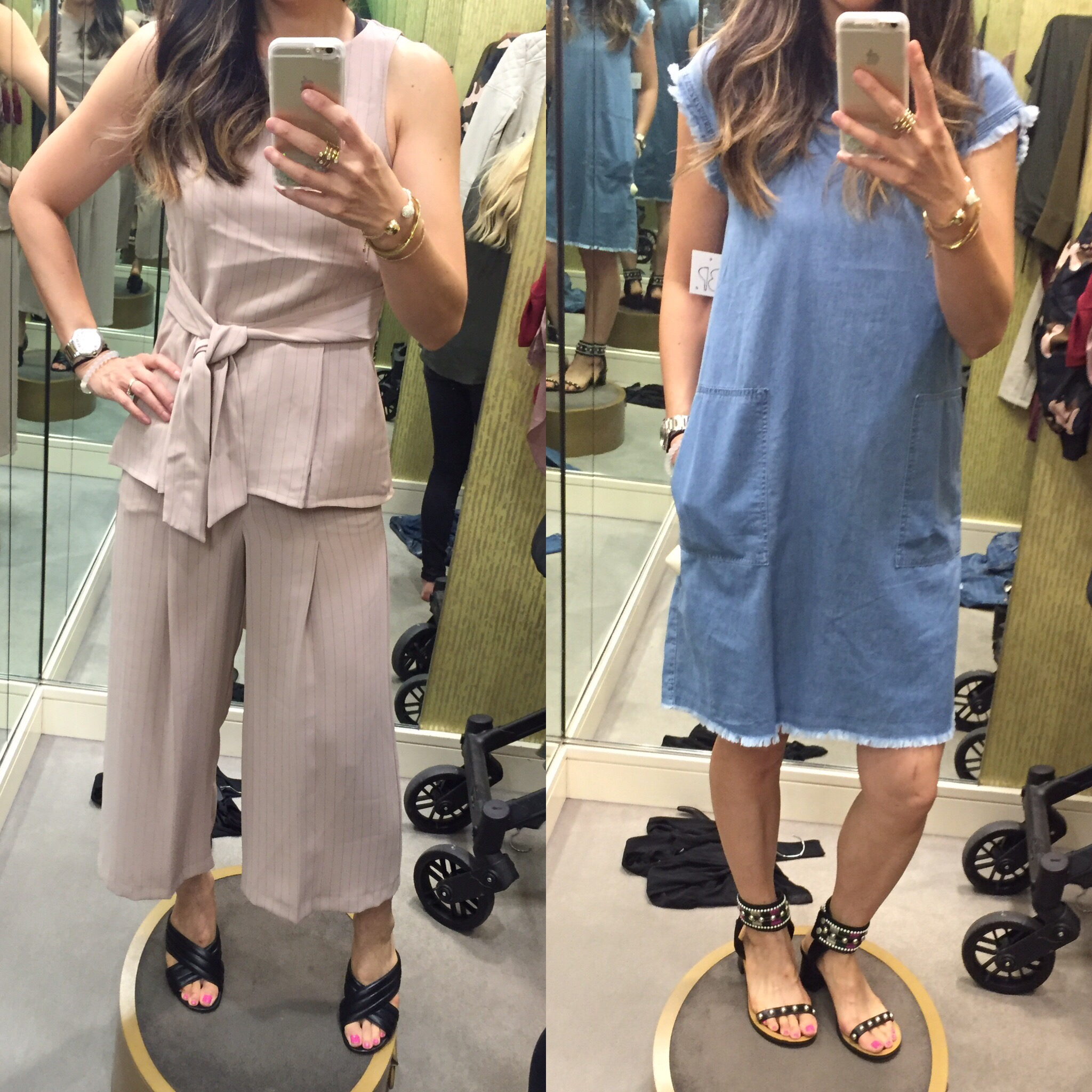 dressing room outfits nordstrom anniversary sale picks, frayed denim dress, pinstripe coords set