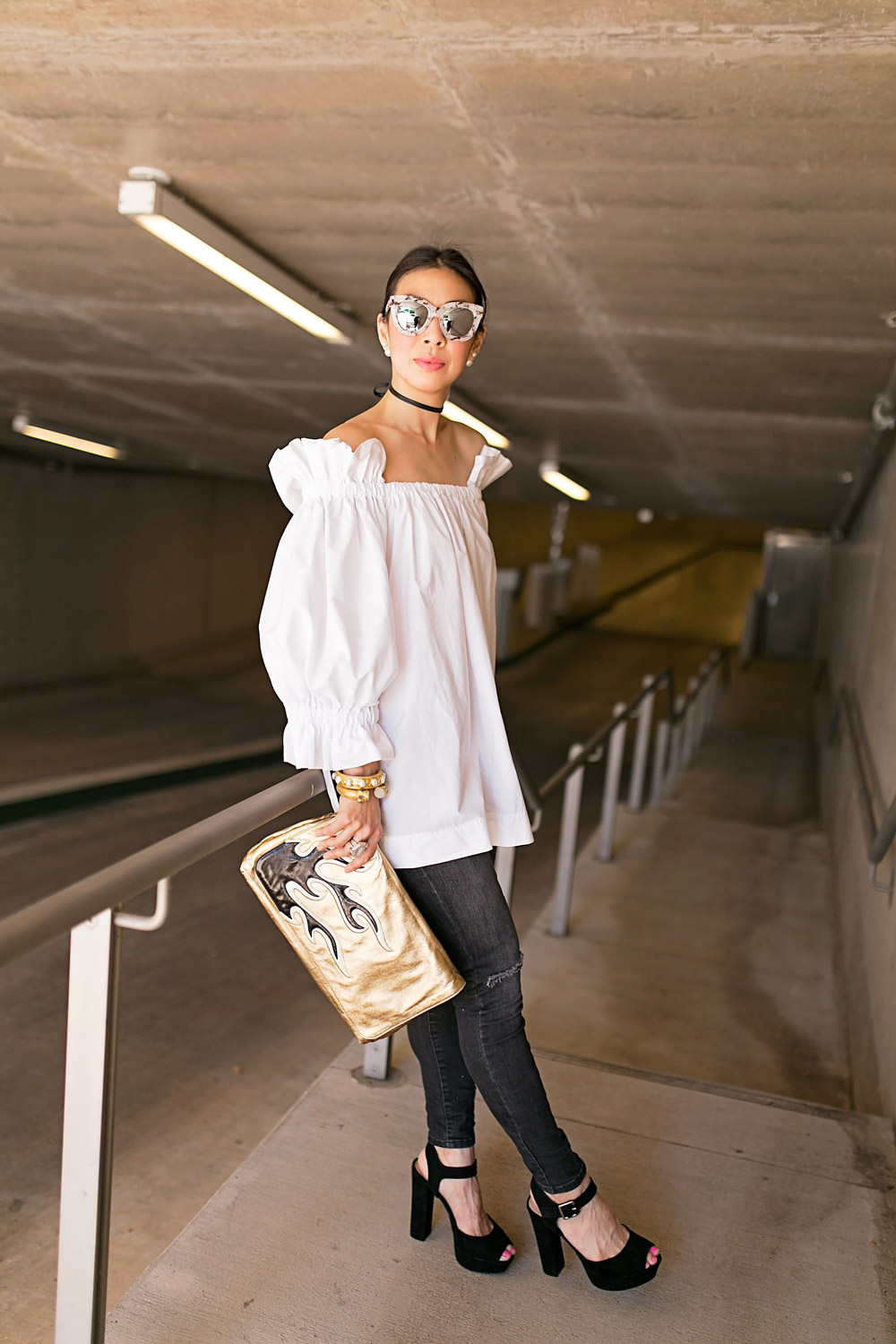 off the shoulder balloon sleeve top, quay sugar and spice sunglasses, b&w outfit idea