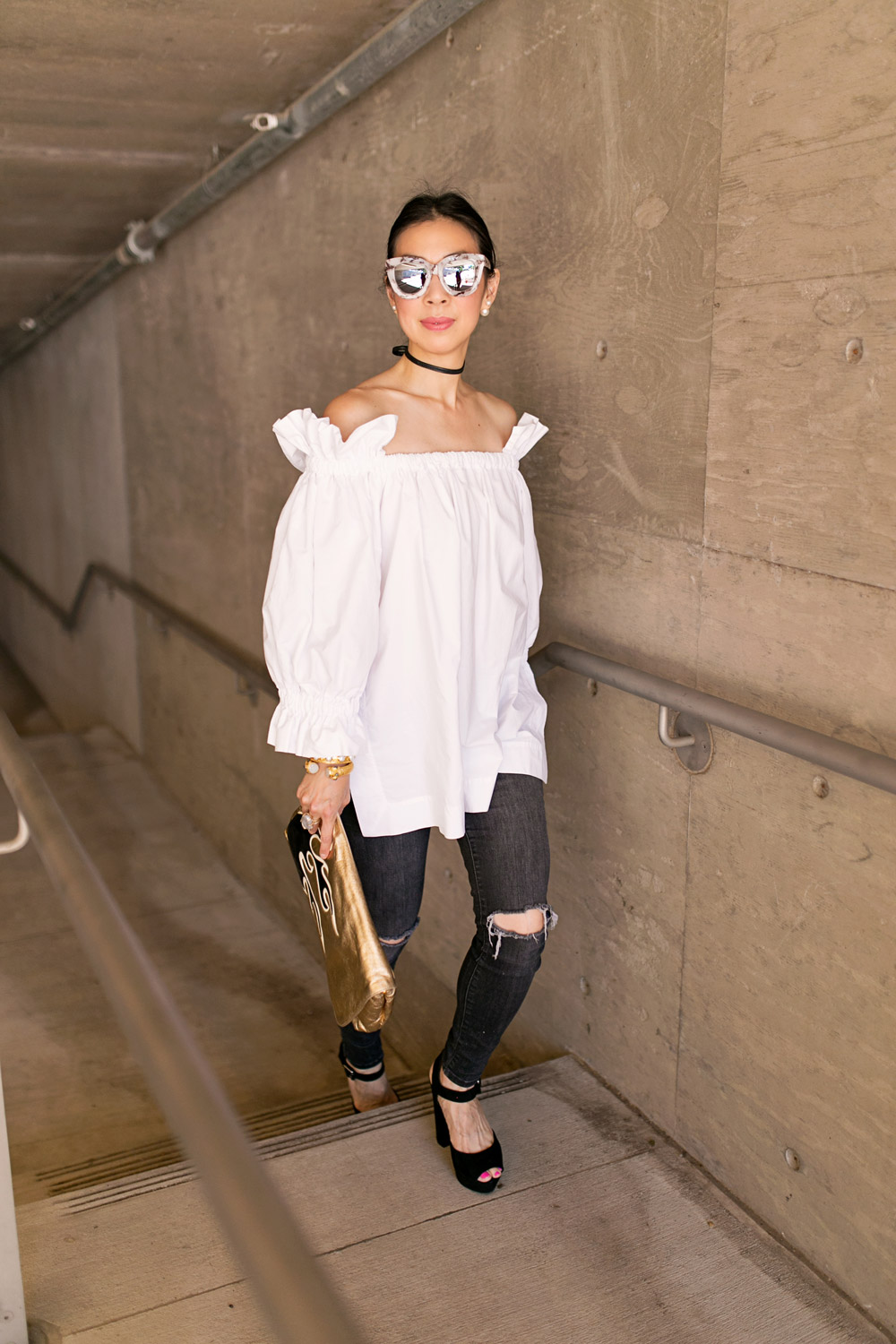 off the shoulder balloon sleeve top, black skinny choker, quay sugar and spice sunglasses