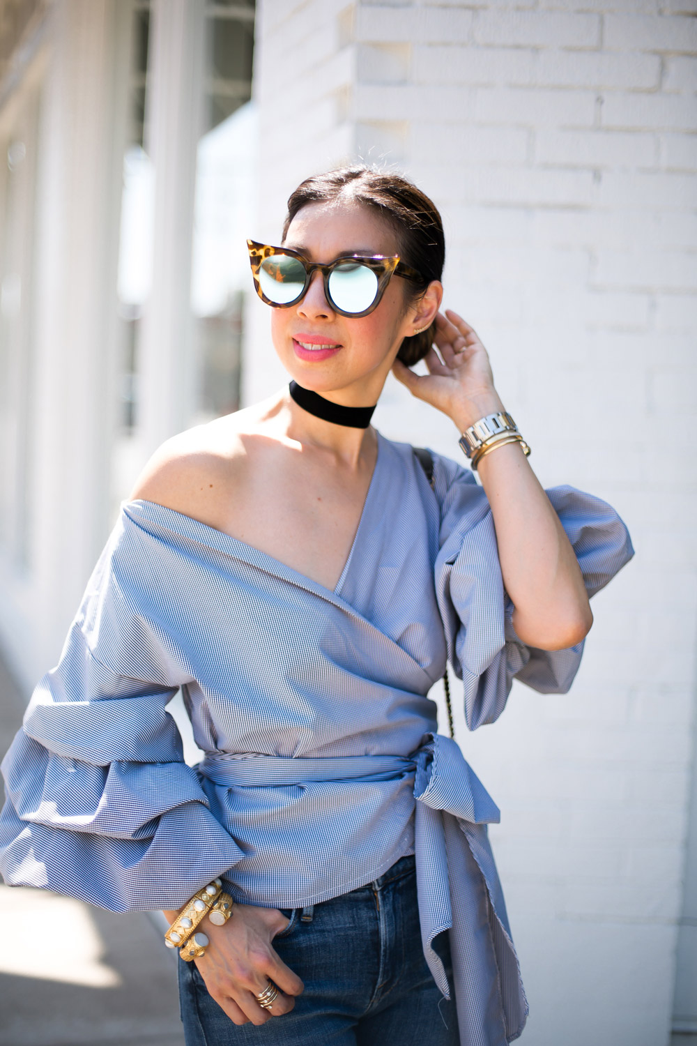 puff sleeve wrap top, le specs flashy, how to wear a choker