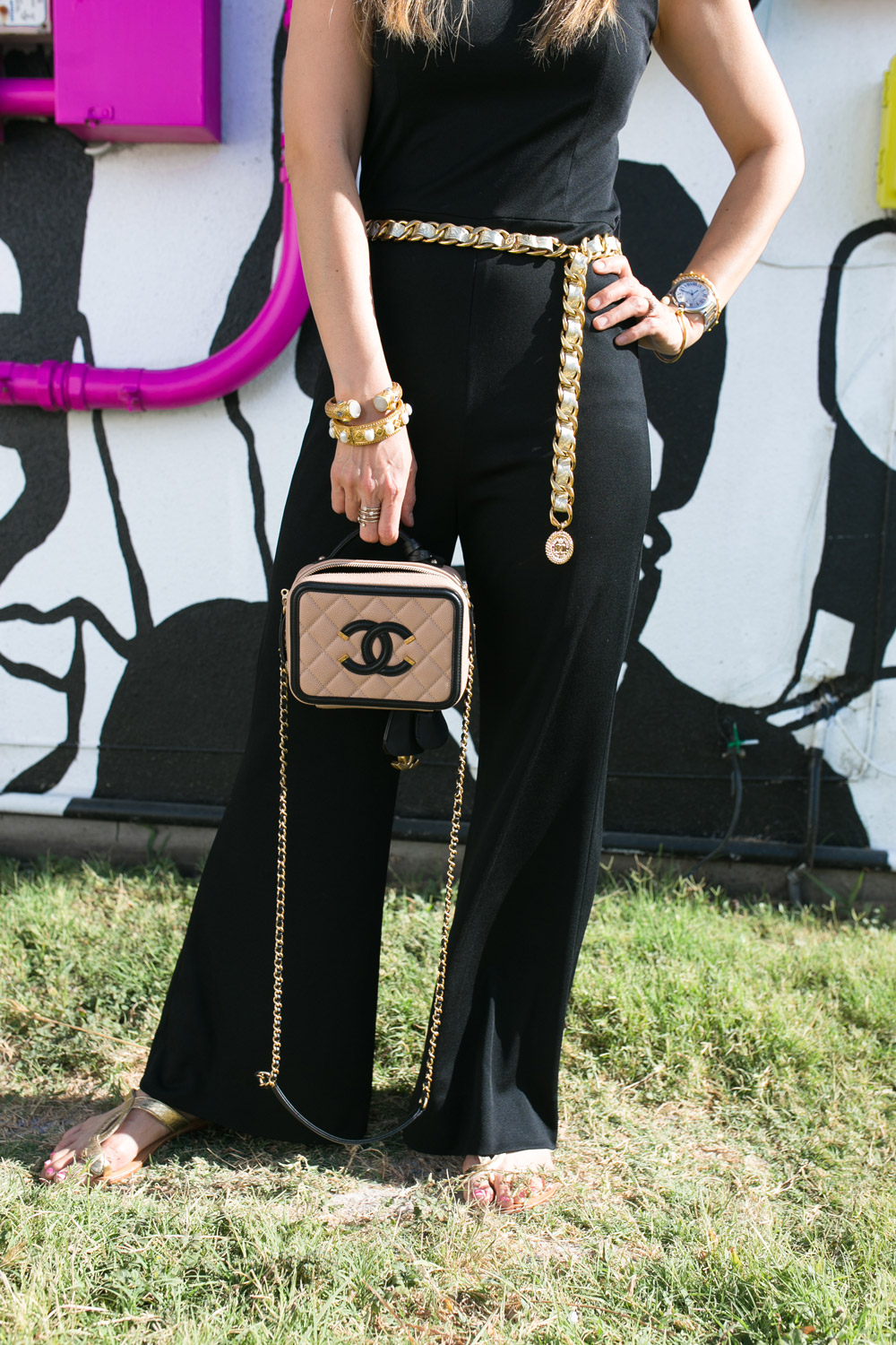 chanel vanity black and beige, how to wear a black jumpsuit, don't quit your daydream wall