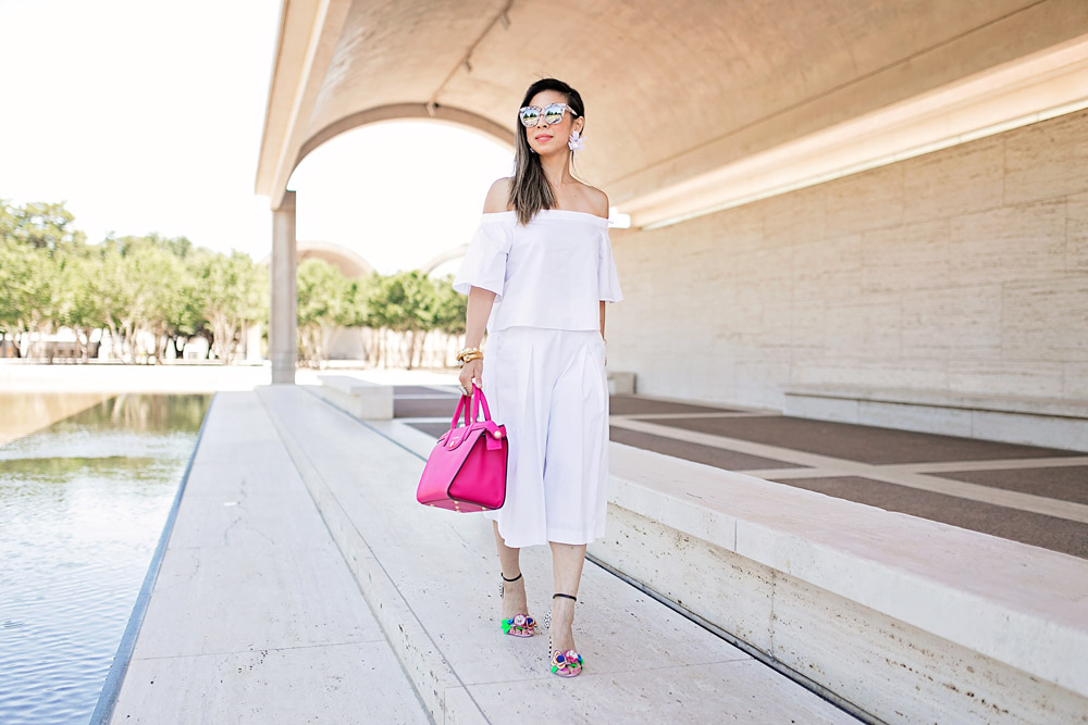 all white outfit, pink longchamp le pliage heritage, sophia webster lilico floral sandals