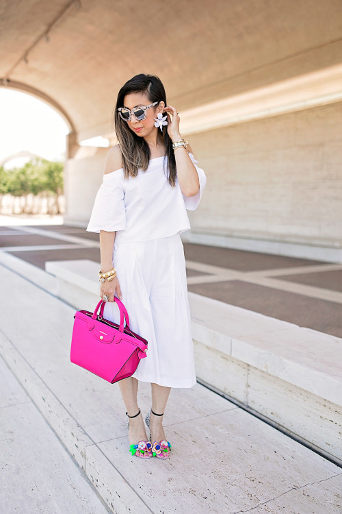 tibi white off the shoulder top, how to wear culottes