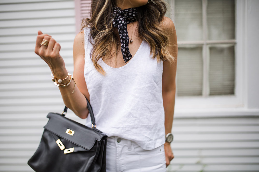 all white outfit, neck scarf trend, vintage black hermes kelly