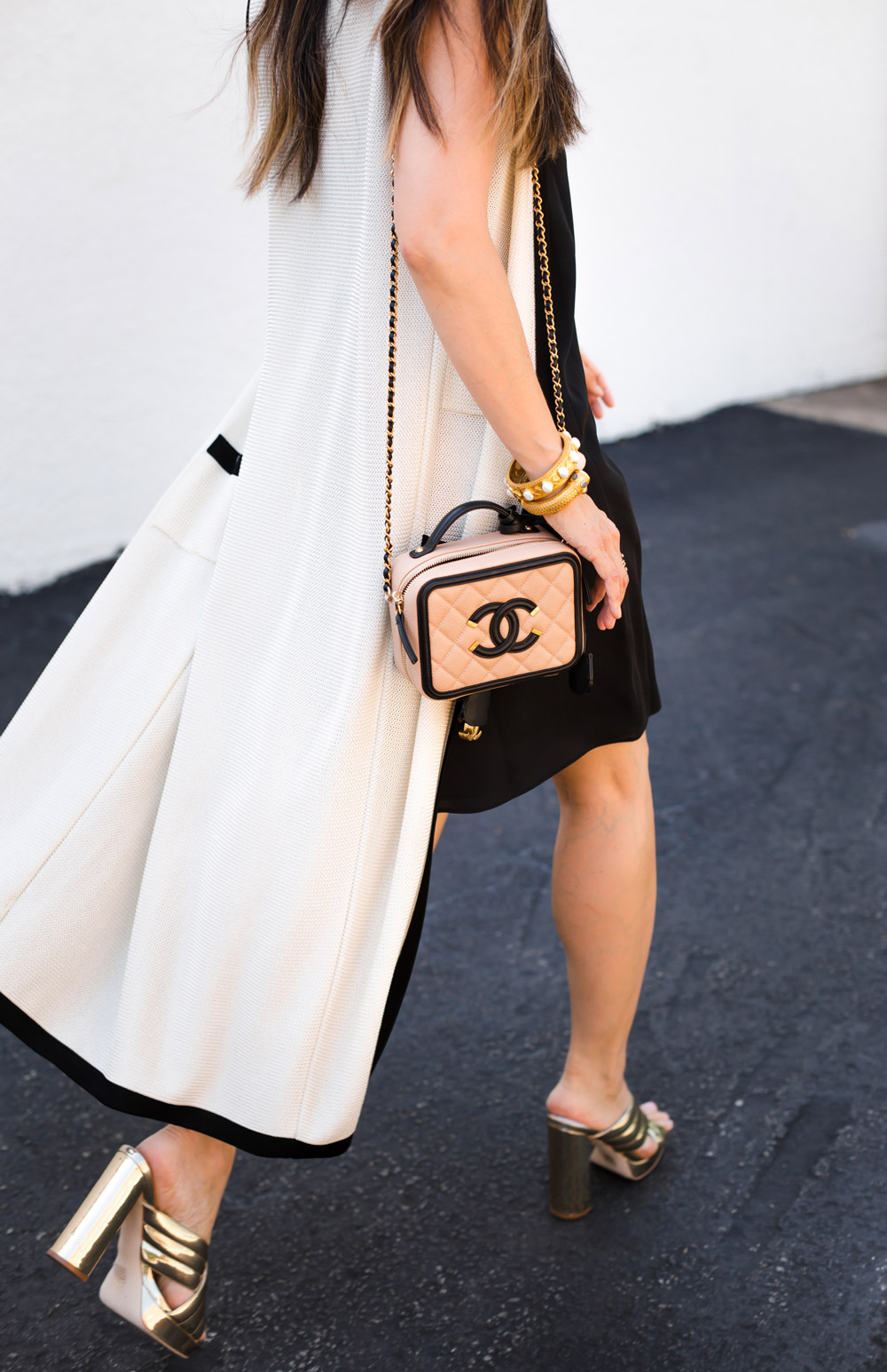 black slip dress, vintage chanel long vest, chanel vanity case 2016