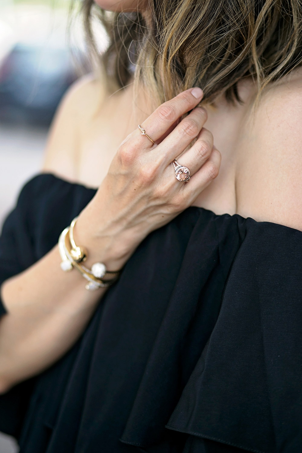 date night mlm off the shoulder dress, effy jewelry morganite rose gold ring