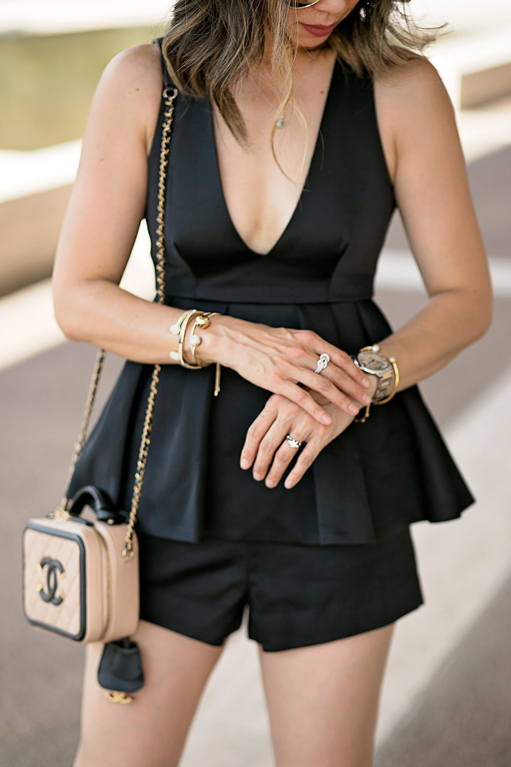 date night romper outfit, effy jewelry diamond ring