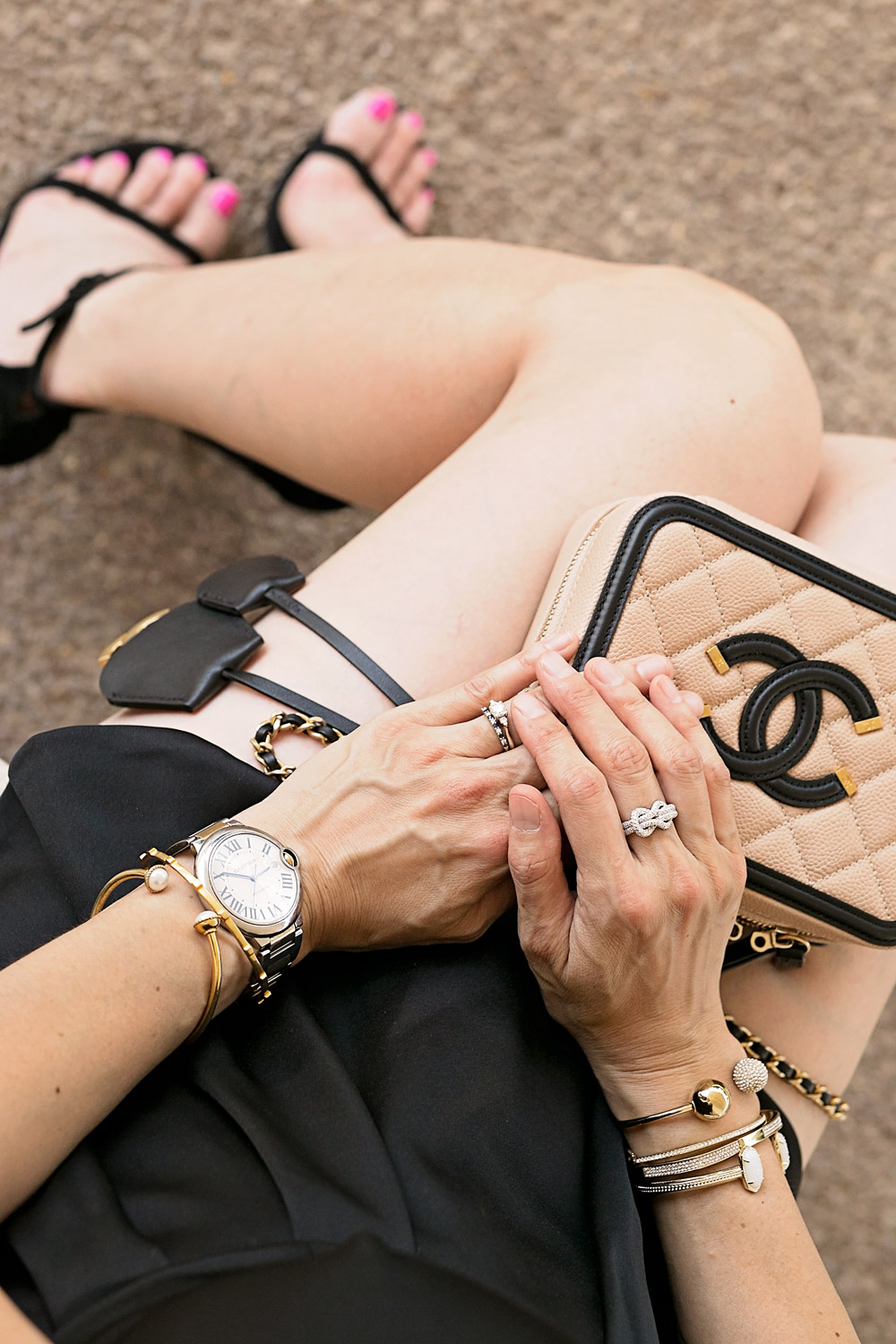date night outfit, effy jewelry diamond ring, chanel vanity filigree 2016 bag